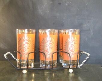 Vintage Set of Six Sunburst Drinking Glasses in Caddy