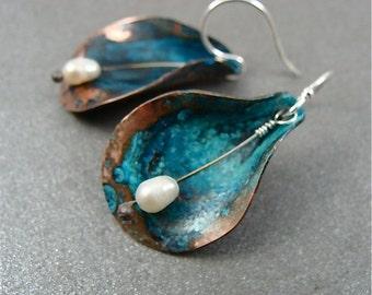 copper cala lily  earrings