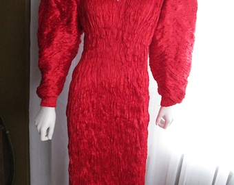 RUSSELL TRUSSO Designer Red Silk 1980's Dress