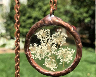 Large Queen Anne's Lace Wildflower Copper Pendant Necklace