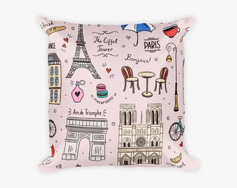 Pink Paris Print Pillow Case