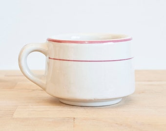 Heavy Vintage Tepco Restaurant Ware Pink Stripe Teacup or Short Ironstone Coffee Cup