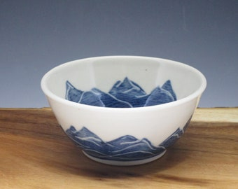 Handmade porcelain ice cream bowl, handpainted in mountain design
