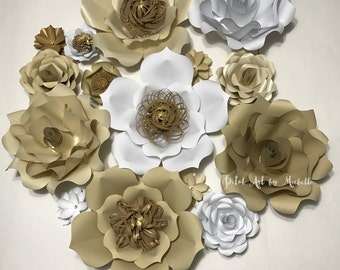 Cream and White Paper Flower Backdrop, Paper Flower Decoration, Wedding Paper Flower Wall, Home Decoration, Girl Room Decoration