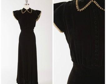 Vintage 30s Gown • Moonlit Kiss • Black Velvet 1930s Evening Dress with Gold Trim Size Small