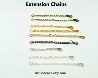 EXTENDERS / Goldtone, Silvertone, White Silvertone Necklace Extension Chains