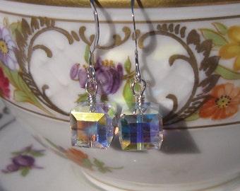 fatdog Wedding Collection Earrings - BSE717 Single Cube Swarovski Crystal