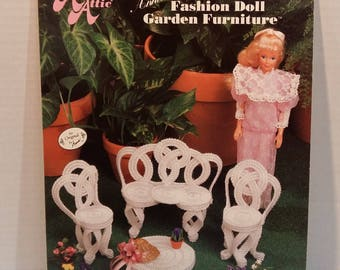 Fashion Doll Garden Furniture Plastic Canvas 4 Pattern Projects Crafts Vintage By Annie's Attic