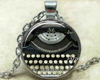 Typewriter art pendant, typewriter necklace, typewriter jewelry, writer necklace, Pendant#HG138P