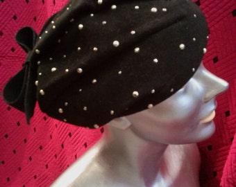 Vintage 1940s Hat Tilt Black Wool Sculptural Beret Pearl Studs