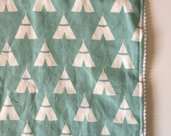 Blue teepee pompom blanket