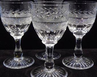 Hand Cut Crystal Cordial Glasses, Vintage Crystal Stemware, Laurel Leaf and Cross Hatch, Teardrop Stemmed Glasses, Set of 4 Crystal Glasses