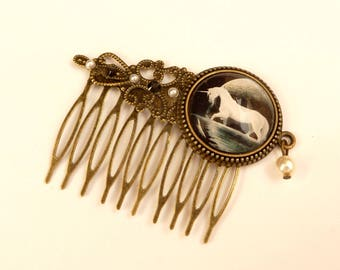 Hair comb with unicorn fantasy hair jewelry trend horse hair accessories black bronze girl hair comb gift idea for her