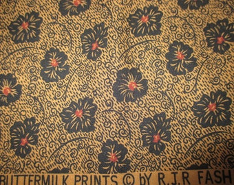 about 6 yards brown and black floral Buttermilk Prints by RJR quilt fabric