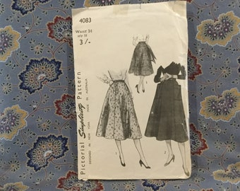 "Simplicity vintage 40s skirt pattern size 24"" waist hips 33"""