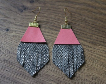 Titan Leather Earrings - Grey Snakeskin with Coral