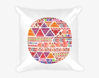 Multicolor Geometric Circle Boho Pattern Print Pillow Case