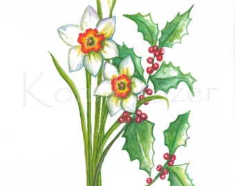 Narcissus and Holly, December birthday flower, original watercolor painting, birth month flower, December birthday gift