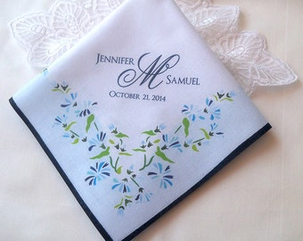 Something blue wedding handkerchief, personalize monogram bridal hankerchief, print handkerchief, blue hankerchief, something blue for bride
