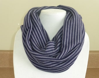 Purple striped infinity scarf
