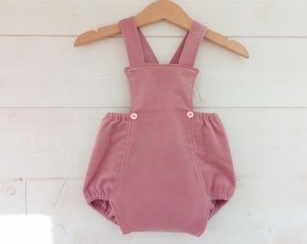 Pink retro soft corduroy baby romper