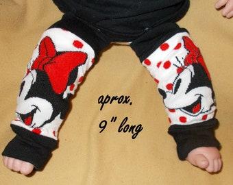 Leg warmer, Infant- Black and White Cartoon on white with red dots clothing infant leg warmer, leg warmer, baby leg warmer, cartoon clothing