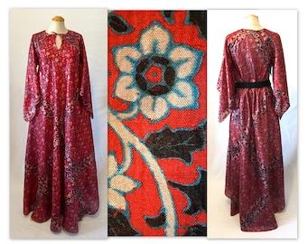 Vintage des années 70 en soie Boho Chic robe M fleur impression Caftan avec manches ange