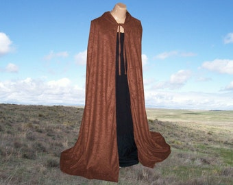 Hooded Cloak Cape Brown Faux Suede Renaissance Wedding Gothic Medieval Halloween Costume Fall