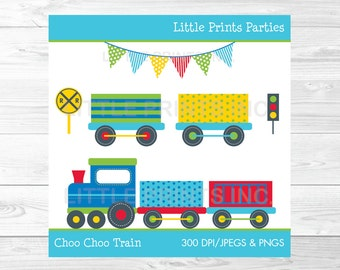 Choo Choo Train Clipart Colorful Train Clip art PERSONAL USE Instant Download A252