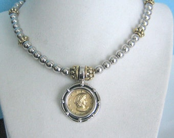Stocko Gold tone and Silver tone Coin Necklace