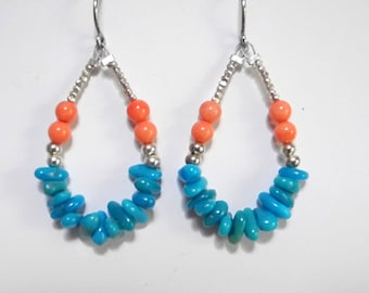 Turquoise and Coral Hoop Earrings