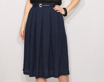 SALE Navy chiffon skirt Midi skirt Navy skirt Women skirt Chiffon skirt High waisted skirt with pockets