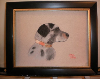 "original framed pastel painting of a "" Blue Heeler "" dog"