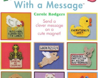 Magnets With A Message ~ plastic canvas book ~~ NEW ~ Annie's