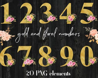 Gold And Floral Numbers Clipart, Gold Foil And Watercolor Flower Numbers, For Wedding Invitations, Card Making, Scrapbooking, BUY7FOR10