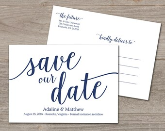 Navy Save the Date Template // Simple Save the Date Card // Save Our Date Template // Printable Save the Date Postcard