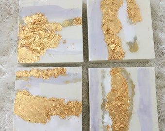 Set of4 - 6x6 canvas paintings - gold leaf and resin