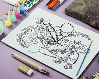 Adult Coloring Page - Printable Zentangle