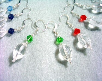 Colorful Faceted Crystal Earrings Set, Purple, Green, Blue, Red and Clear Crystal Jewelry, Dangle Earrings Set 5 Pairs, Bridesmaids Gifts