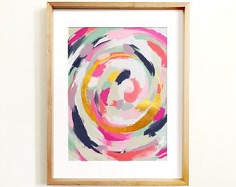 Abstract art PRINTABLE art, Wall art, Abstract painting, Modern art, Brushstroke art, Glam decor, Pink & gold art, Abstract print, Trendy