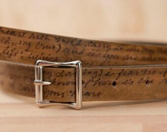 "Personalized Leather Mandolin Strap - 1"" wide - Handmade Mandolin or Ukulele Strap with Custom Inscription - Antique Brown"