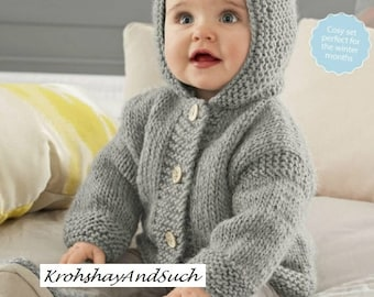Baby Hooded Jacket, Chunky Easy Knit, Knitting Pattern. PDF Instant Download.