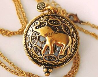 Elephant Locket Necklace ,  Antique Gold Brass Elephant Jewelry, Lucky Elephant Pendants,New mum gift, Gift For Her,Father's Day gift