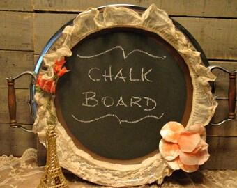 Silver Tray Blackboard - Rustic - Vintage Trims - Wall Chalk Board - Silverplate Tray - Message Board - Menu Board