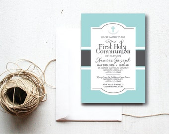 INSTANT DOWNLOAD First Holy Communion invitation / First Communion invite / 1st Communion invite / 1st Holy Communion invite / boy Communion
