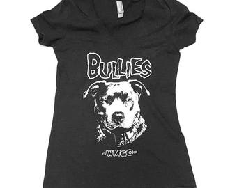 SALE! BULLIES! Women's V-neck Tee (Shirts for Pitbull Lovers; Inspired by The Misfits Logo; Bully Breeds, Pitbulls, Staffies)