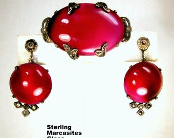 Sterling & Ruby Glass Brooch n Screw Back Earrings Set, 1950s, Filigree Dark Silver w Marcasites, Gorgeous Mysterious Classic