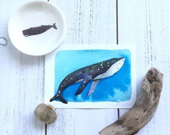 Whale, original watercolor