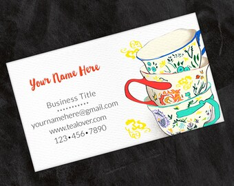 Printed Personalized Business Card, Custom Business Card, Calling Card, Contact Card, Tea Cups