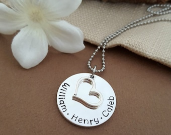 Personalized Mothers Necklace Stamped With Kids Names | Simple Mommy Necklace | Gift For Mom